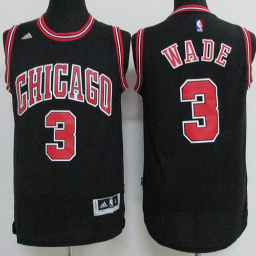 Bulls #3 Dwyane Wade Black Stitched Youth NBA Jersey