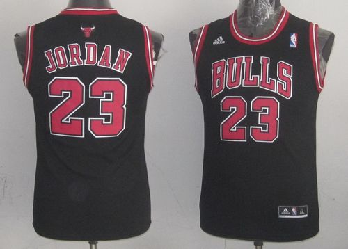 Bulls #23 Michael Jordan Black & Red No. Stitched Youth NBA Jersey