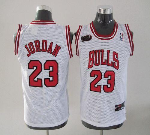 Bulls #23 Michael Jordan White Champion Patch Stitched Youth NBA Jersey