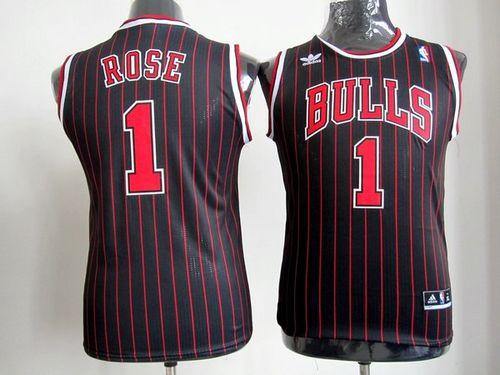 Bulls #1 Derrick Rose Black(Red Strip) Stitched Youth NBA Jersey