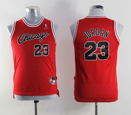 Nike Bulls #23 Michael Jordan Red Throwback Stitched Youth NBA Jersey