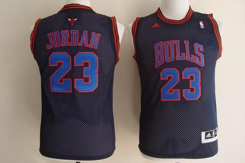Bulls #23 Michael Jordan Black With Blue No. Stitched Youth NBA Jersey