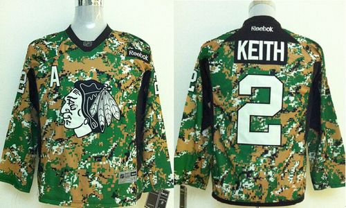 Blackhawks #2 Duncan Keith Camo Veterans Day Practice Stitched Youth NHL Jersey