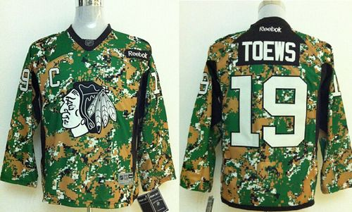 Blackhawks #19 Jonathan Toews Camo Veterans Day Practice Stitched Youth NHL Jersey
