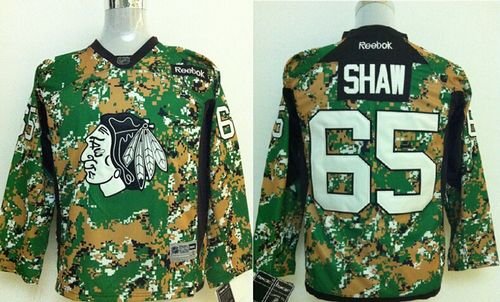Blackhawks #65 Andrew Shaw Camo Veterans Day Practice Stitched Youth NHL Jersey