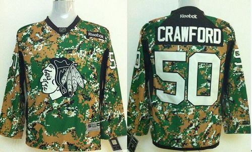 Blackhawks #50 Corey Crawford Camo Veterans Day Practice Stitched Youth NHL Jersey