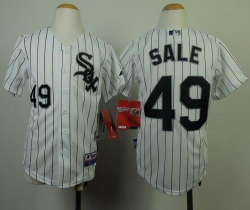 White Sox #49 Chris Sale White(Black Strip) Cool Base Stitched Youth MLB Jersey