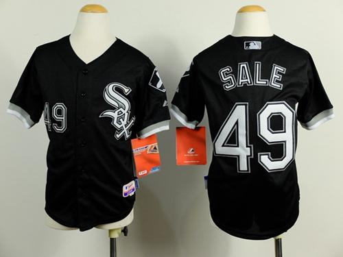 White Sox #49 Chris Sale Black Cool Base Stitched Youth MLB Jersey