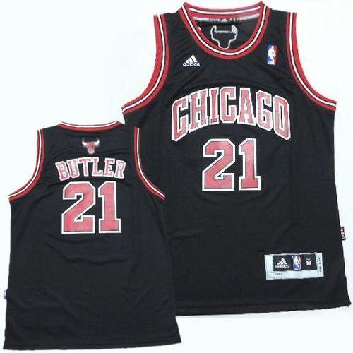 Bulls #21 Jimmy Butler Black Revolution 30 Stitched Youth NBA Jersey