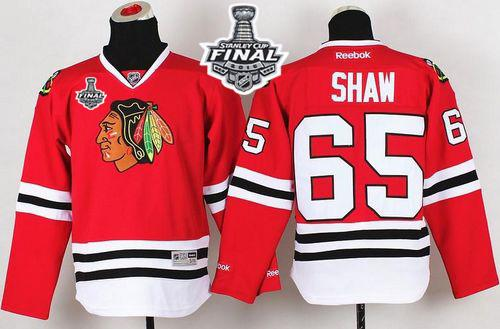 Blackhawks #65 Andrew Shaw Red 2015 Stanley Cup Stitched Youth NHL Jersey