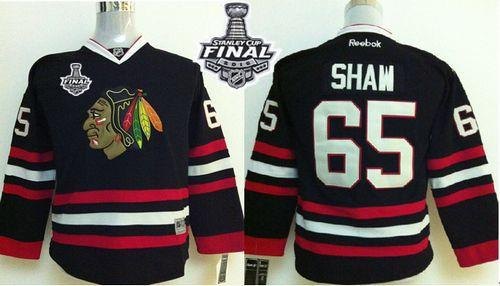 Blackhawks #65 Andrew Shaw Black 2015 Stanley Cup Stitched Youth NHL Jersey