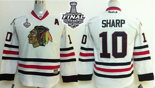 Blackhawks #10 Patrick Sharp White 2015 Stanley Cup Stitched Youth NHL Jersey