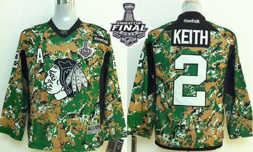 Blackhawks #2 Duncan Keith Camo Veterans Day Practice 2015 Stanley Cup Stitched Youth NHL Jersey
