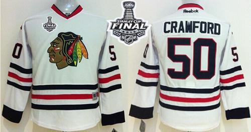 Blackhawks #50 Corey Crawford White 2015 Stanley Cup Stitched Youth NHL Jersey