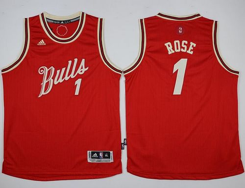 Bulls #1 Derrick Rose Red 2015-2016 Christmas Day Stitched Youth NBA Jersey
