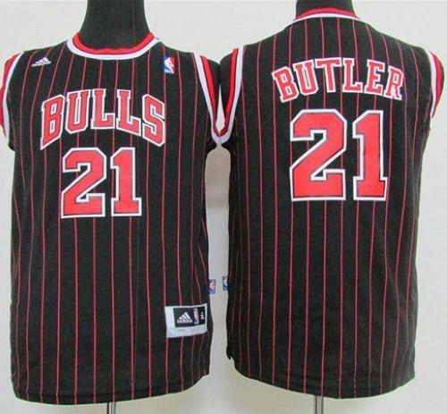 Bulls #21 Jimmy Butler Black Strip Stitched Youth NBA Jersey