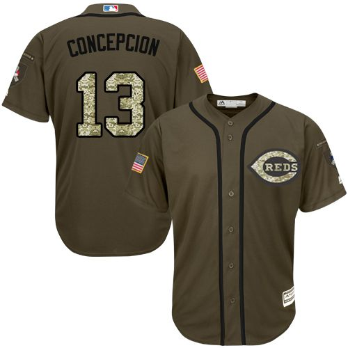 Reds #13 Concepcion Green Salute to Service Stitched Youth MLB Jersey