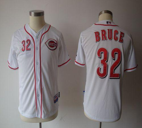 Reds #32 Jay Bruce White Cool Base Stitched Youth MLB Jersey