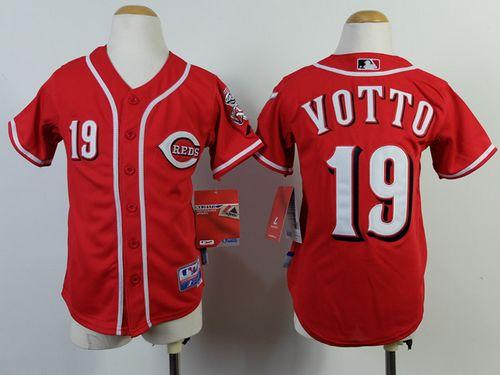 Reds #19 Joey Votto Red Cool Base Stitched Youth MLB Jersey