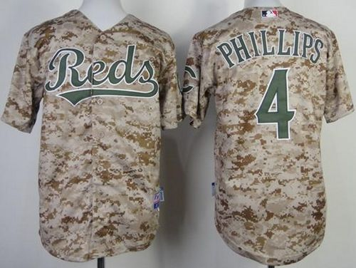 Reds #4 Brandon Phillips Camo Cool Base Stitched Youth MLB Jersey