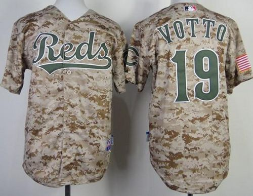 Reds #19 Joey Votto Camo Cool Base Stitched Youth MLB Jersey