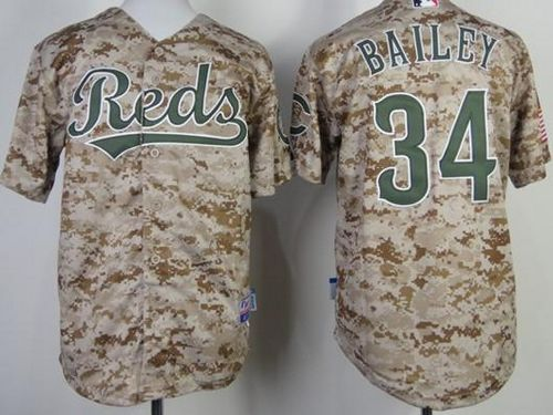 Reds #34 Homer Bailey Camo Cool Base Stitched Youth MLB Jersey
