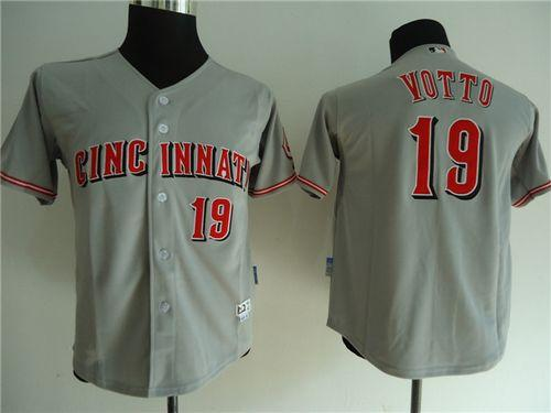 Reds #19 Joey Votto Grey Cool Base Stitched Youth MLB Jersey