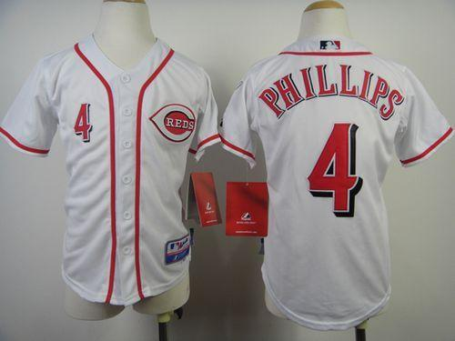 Reds #4 Brandon Phillips White Cool Base Stitched Youth MLB Jersey