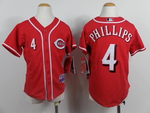 Reds #4 Brandon Phillips Red Cool Base Stitched Youth MLB Jersey