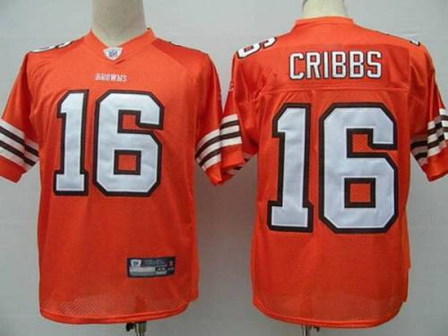 Browns #16 Joshua Cribbs Orange Stitched Youth NFL Jersey