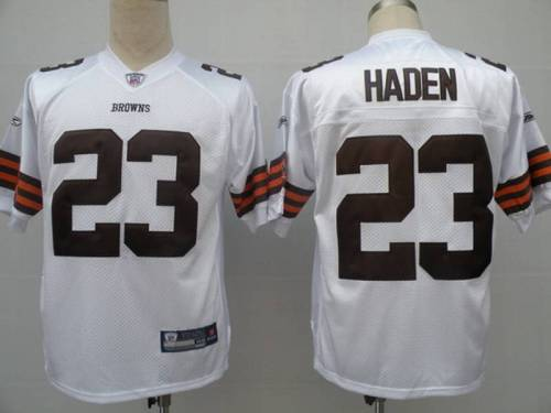 Browns #23 Joe Haden White Stitched Youth NFL Jersey