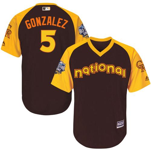 Rockies #5 Carlos Gonzalez Brown 2016 All-Star National League Stitched Youth MLB Jersey