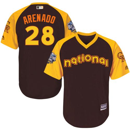 Rockies #28 Nolan Arenado Brown 2016 All-Star National League Stitched Youth MLB Jersey
