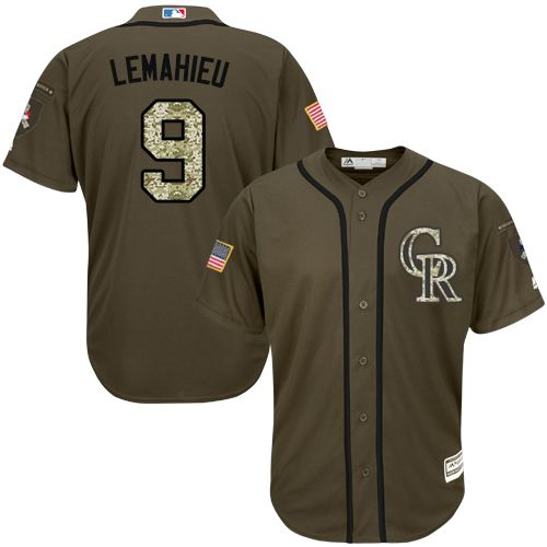 Rockies #9 DJ LeMahieu Green Salute to Service Stitched Youth MLB Jersey