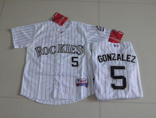 Rockies #5 Carlos Gonzalez White Cool Base Stitched Youth MLB Jersey
