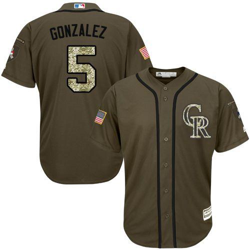 Rockies #5 Carlos Gonzalez Green Salute to Service Stitched Youth MLB Jersey