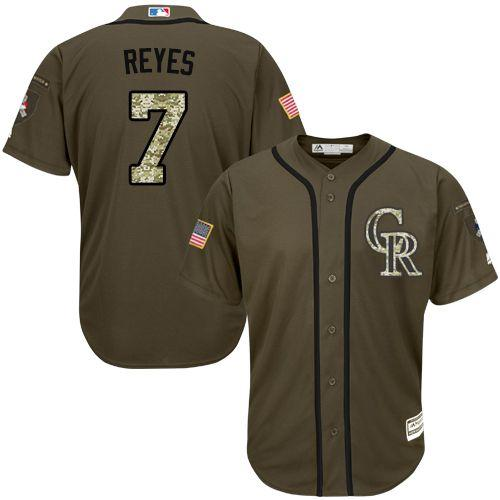 Rockies #7 Jose Reyes Green Salute to Service Stitched Youth MLB Jersey