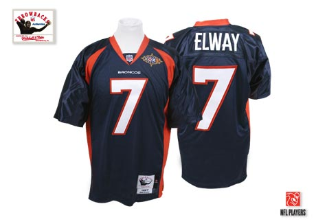 Mithell And Ness Broncos #7 John Elway Blue Stitched Throwback Youth NFL Jersey