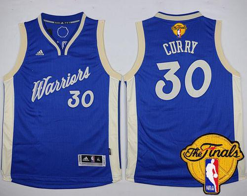 Warriors #30 Stephen Curry Blue 2015-2016 Christmas Day The Finals Patch Stitched Youth NBA Jersey