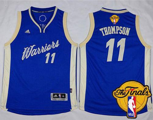Warriors #11 Klay Thompson Blue 2015-2016 Christmas Day The Finals Patch Stitched Youth NBA Jersey