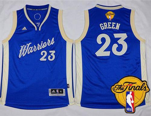 Warriors #23 Draymond Green Blue 2015-2016 Christmas Day The Finals Patch Stitched Youth NBA Jersey