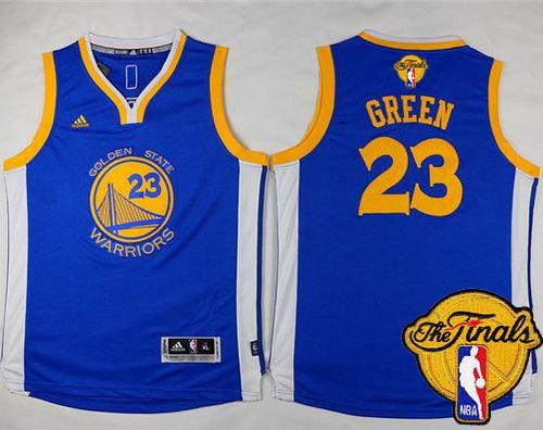 Warriors #23 Draymond Green Blue The Finals Patch Stitched Youth NBA Jersey