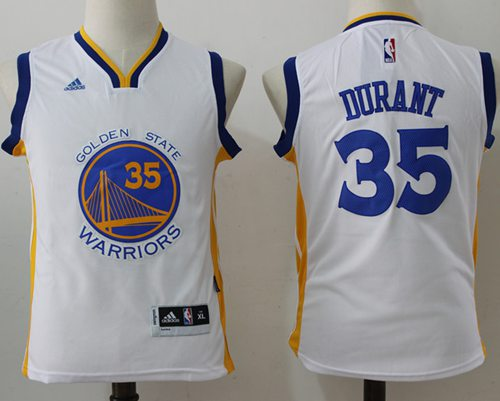 Warriors #35 Kevin Durant White Stitched Youth NBA Jersey