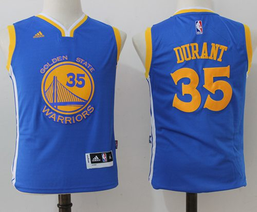 Warriors #35 Kevin Durant Blue Stitched Youth NBA Jersey