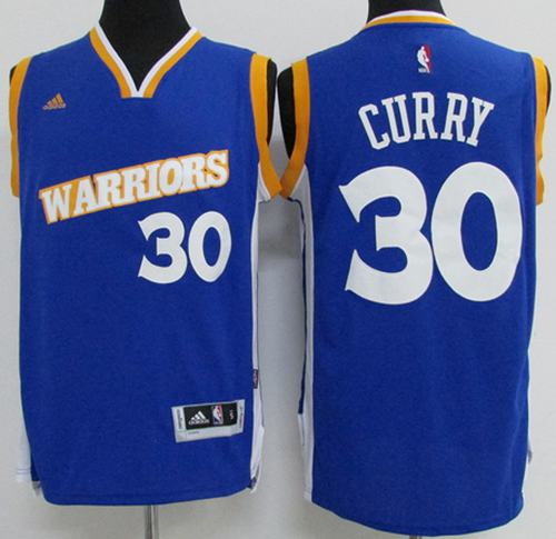 Warriors #30 Stephen Curry Blue New Stitched Youth NBA Jersey