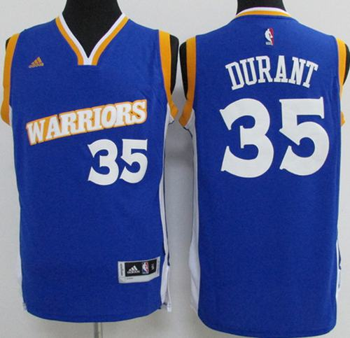 Warriors #35 Kevin Durant Blue New Stitched Youth NBA Jersey