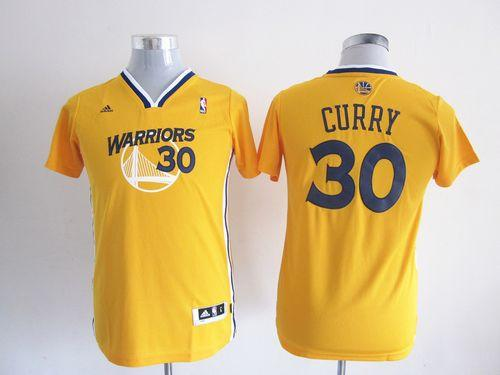 Warriors #30 Stephen Curry Gold Alternate Stitched Youth NBA Jersey