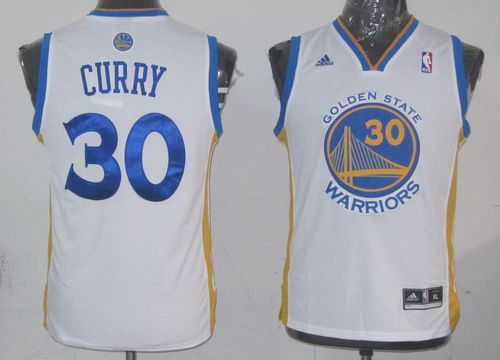 Revolution 30 Warriors #30 Stephen Curry White Stitched Youth NBA Jersey