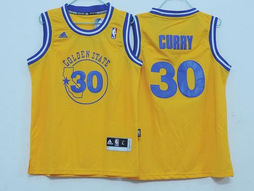 Warriors #30 Stephen Curry Gold Throwback Stitched Youth NBA Jersey