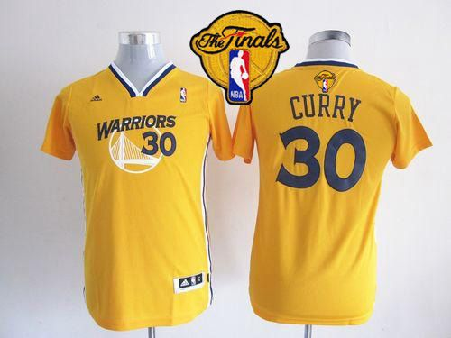 Warriors #30 Stephen Curry Gold Alternate The Finals Patch Stitched Youth NBA Jersey